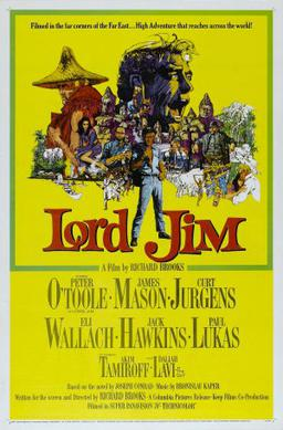 "Poster from the 1965 movie ""Lord Jim,"" based on Joseph Conrad's novel of a flawed seaman who comes to understand karma"