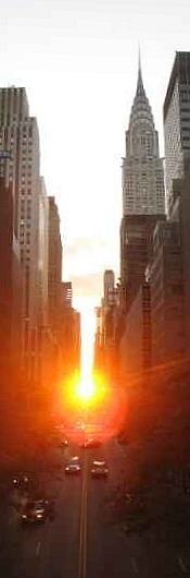 Manhattanhenge, which I witnessed Thursday and is visible Friday, seen from 42nd Street facing west. This image is from 2006.