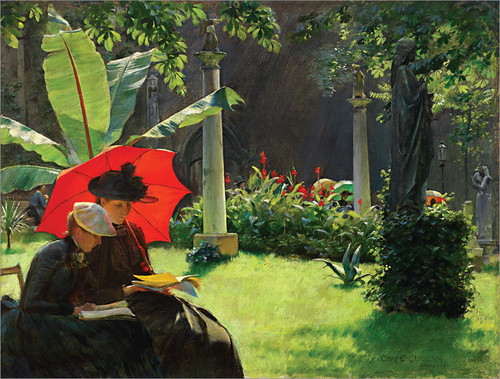"""Charles Courtney Curran's """" Afternoon in the Cluny Garden, Paris """" (1889), oil on wood."""