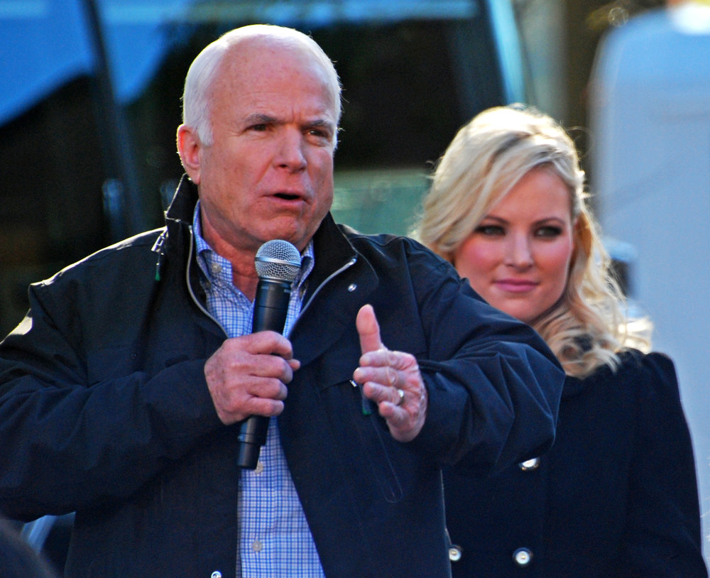 Caption: Meghan McCain campaigning with her father, Sen. John McCain, in 2008. Photograph by Rona Proudfoot.
