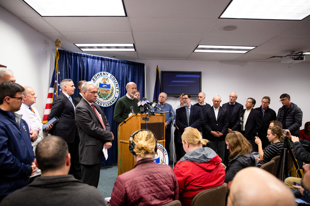 Caption: Pennsylvania Gov. Tom Wolf addresses the murder of 11 at the Tree of Life Synagogue in Pittsburgh.