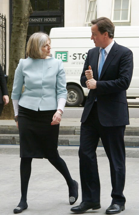 Home Secretary Theresa May with Prime Minister David Cameron in 2010. It's her show now. Courtesy UK Home Office.