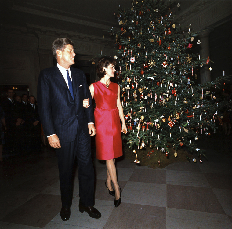For one brief shining moment: President John F. and Jacqueline B. Kennedy admiring the White House Christmas tree on Dec. 12, 1962. Photograph by Robert Knudsen. Courtesy the John F. Kennedy Presidential Library and Museum.