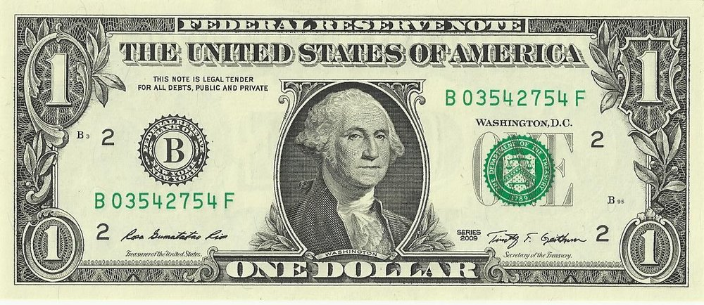 U.S. $1 bill, obverse, series 2009.
