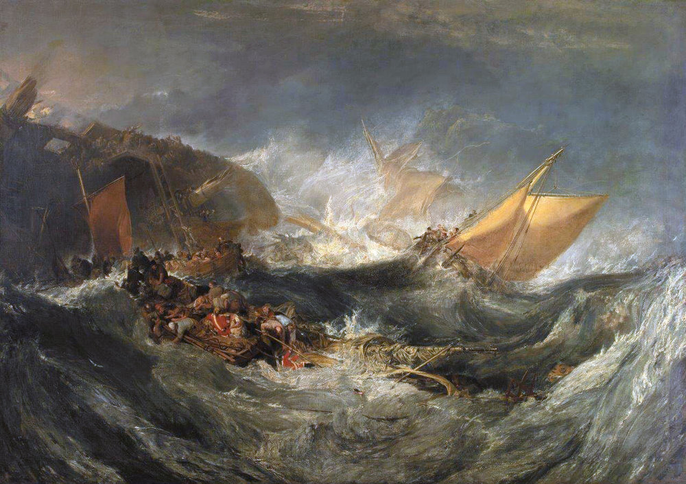 "J.M.W. Turner's ""Shipwreck of the Minotaur"" (1810), oil on canvas. Calouste Gulbenkian Museum."