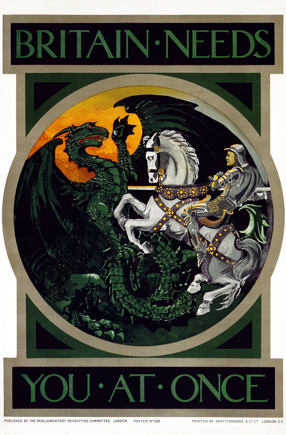 By George: A British World War I recruitment poster invokes St. George, England's patron saint. England could use him right about now.