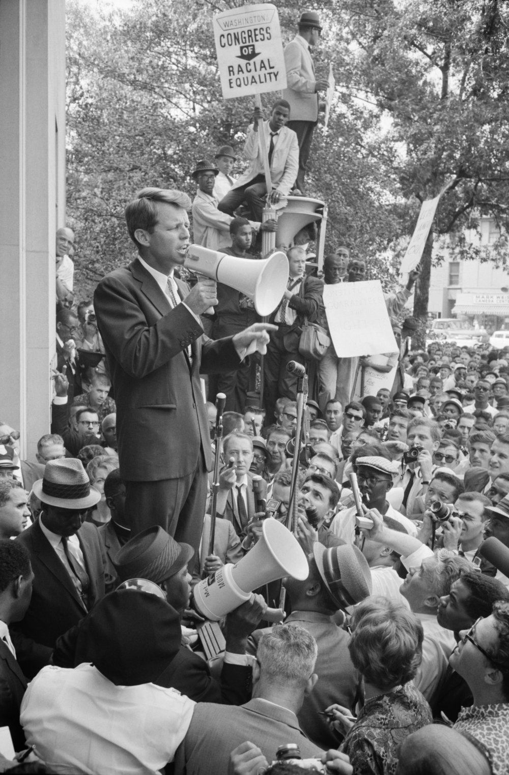 U.S. Attorney General Robert F. Kennedy addressing civil rights protestors outside the Justice Department on June 14, 1963. Courtesy the Library of Congress.