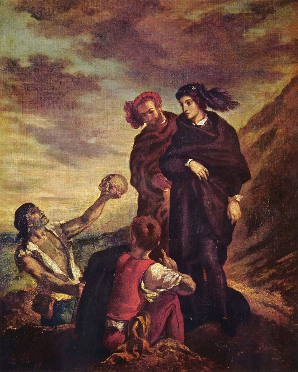"Eugene Delacroix's ""Hamlet and Horatio in the Graveyard"" (1839), oil on canvas. Musée du Louvre."