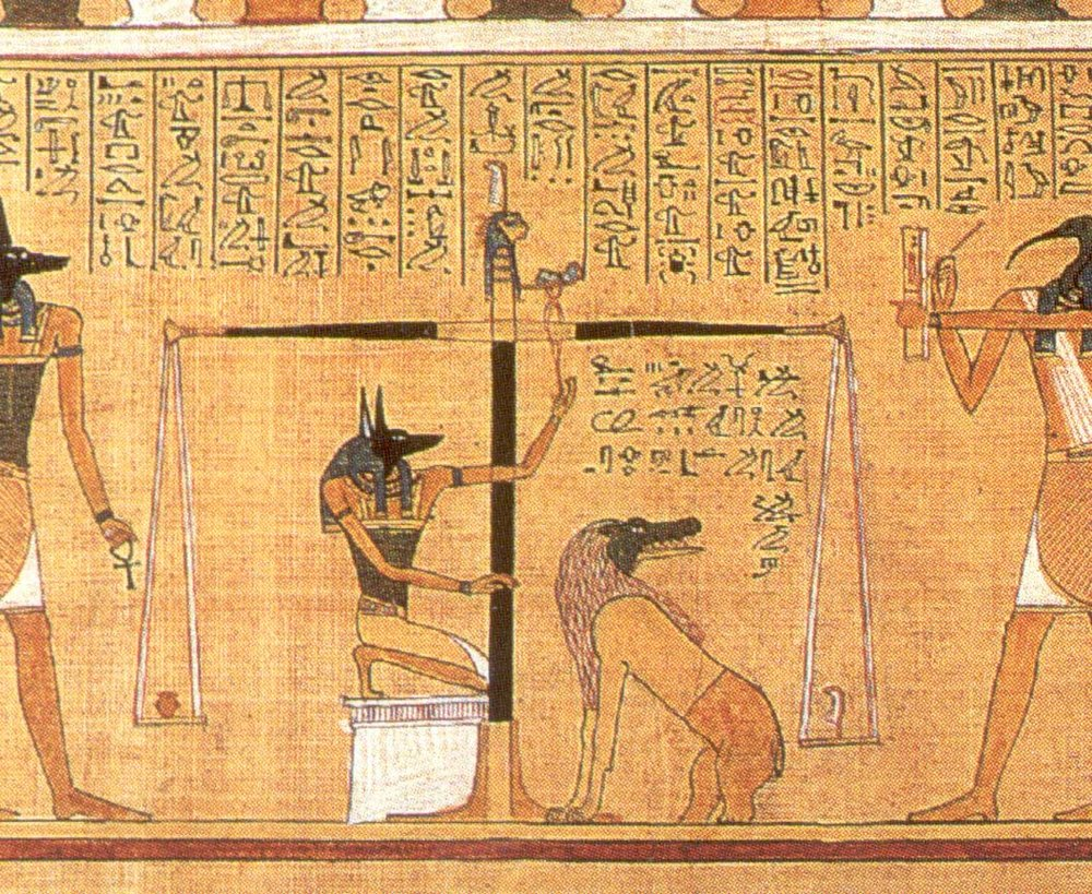 """In """"The Egyptian Book of the Dead,"""" the heart of the deceased is weighed against the feather of truth."""