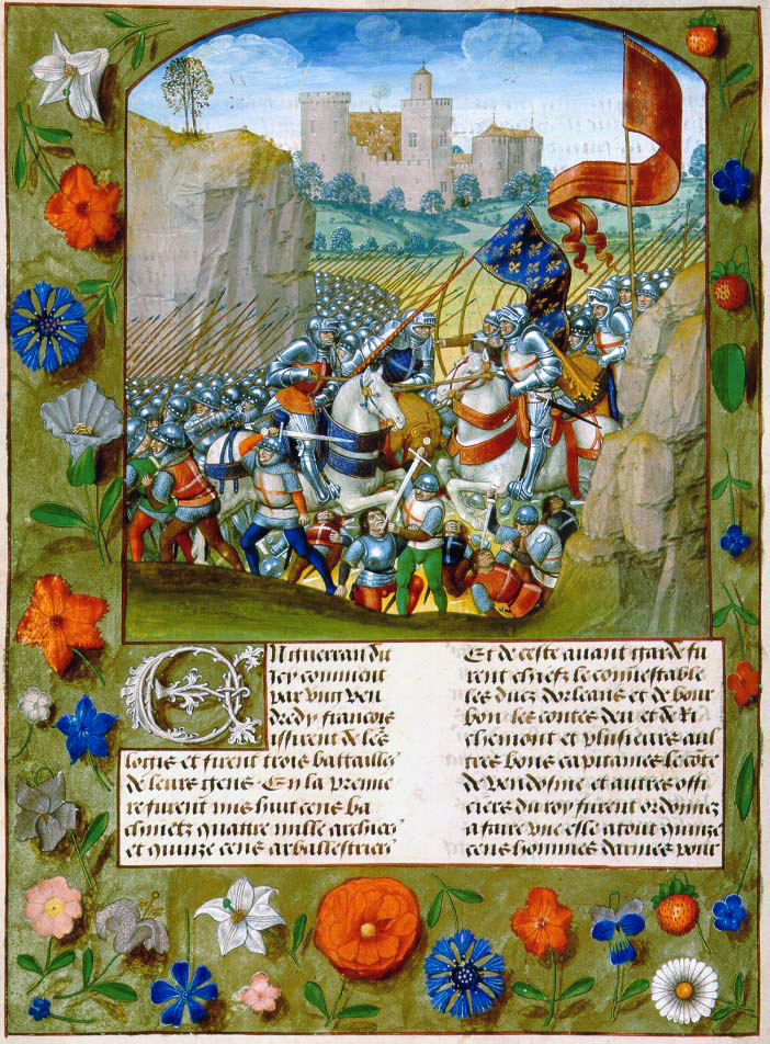 """The Battle of Agincourt"" from Enguerrand de Monstrelet's ""Chronique de France."" (circa 1495), manuscript on parchment."