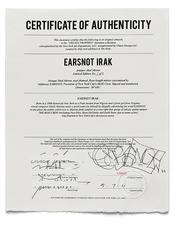 Certificate of Authenticity™