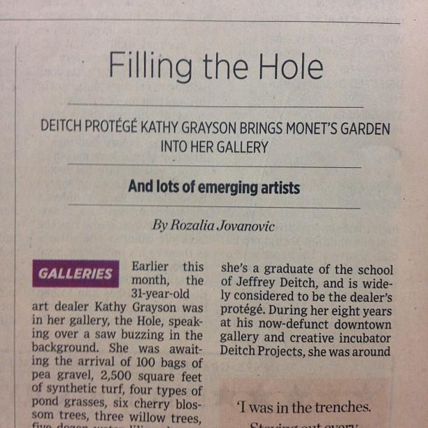 Congrats Kathy!! NY Observer Arts, front page: @kathygrayson 🔨 @TheHoleNYC 🔨 @theholeshop 🔨 @nyartdepartment 🔨