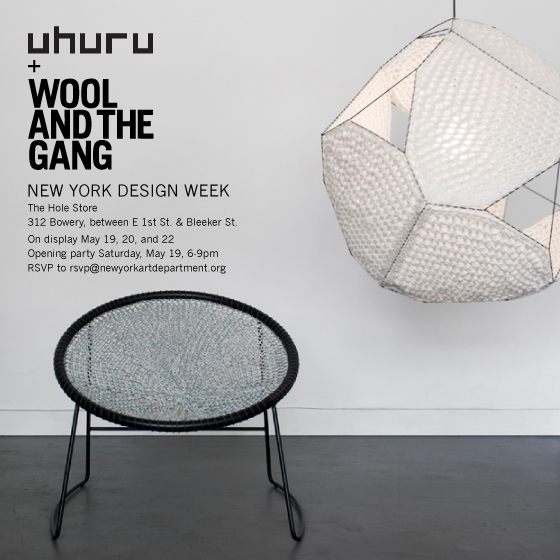 Uhuru & Wool and the Gang at The Hole Shop (Follow  @theholeshop )  May 19, 20, and 22 (Saturday, Sunday, and Tuesday) open 12pm – 7pm   Opening Reception  Saturday, May 19, 6-9pm          RSVP TO OPENING RECEPTION