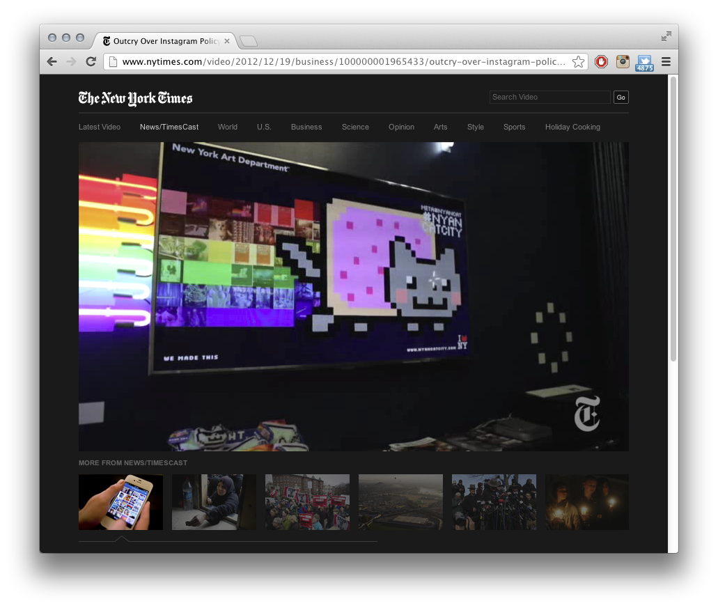 #NYANCATCITY & META #NYANCAT in The New York Times! META #NYANCAT was developed by New York Art Department and Syd Lawrence of wemakeawesomesh.it. TimesCast Media+Tech: Viral video Nyan Cat inspires a pop-up shop. Starts at around the 5:50 mark.