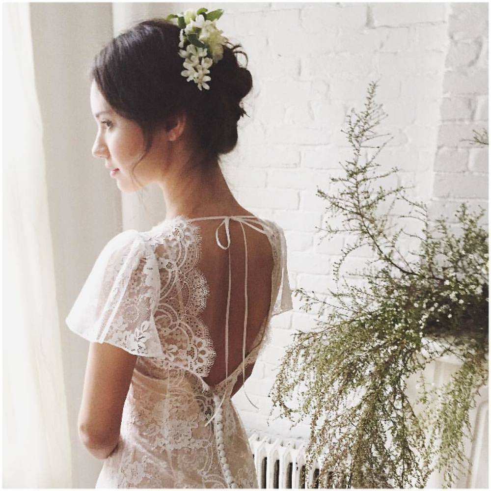 Loving the sexy sweet back on this delicate beauty 💗💗💗 oh my…. The whole look is just sooo me…Can't wait for these gorgeous photos…night;) #tatyanamerenyuk #fashion #style #stylish #cute #hair #beauty #beautiful #pretty #design #dress #wedding #weddingdress #bohochick #boho #whitedress #weddinginsporation #lace #bohemianwedding #bride #nycdesigner #brooklynbride #bridalinspiration #bridaldress #whimsy #flowers