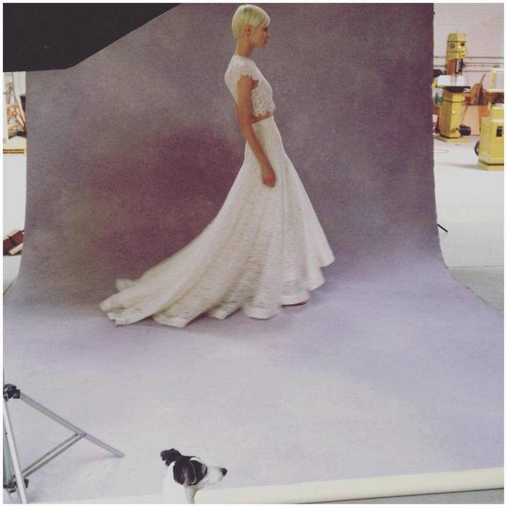 A little behind the scenes, with help from my boy 🐶💗. This new drop waist skirt looks soo good💃🏼 #tatyanamerenyuk #tatyanamerenyukbridal #fashion #style #stylish #cute #tatyanamerenyukbridal #hair #beauty #beautiful #pretty #design #bridaldress #dress #wedding #weddingdress #bohochick #boho #whitedress #weddinginsporation #lace #о#bride #nycdesigner #brooklyndesigner #bridal #brooklynbride