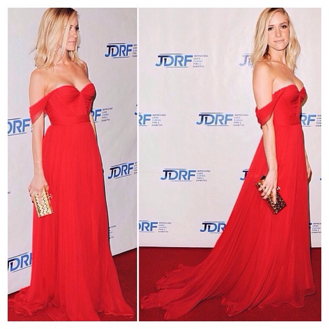"""Im beyond wxcited to share this Gorgeous picture of the Stunning @kristincavallari in my """"Red"""" Natalie gown ❤️❤️❤️ attending the #jdrf in California! A Huge thank you to @helen_berkun who made this possible, Helen you have been there since day 1, i am forever grateful 🙏 #tatyanamerenyuk #tatyanamerenyukbridal #fashion #style #stylish #cute #tatyanamerenyukbridal #hair #beauty #beautiful #instagood #pretty #design #bridaldress #dress #wedding #weddingdress #bohochick #boho #whitedress #weddinginsporation #lace #bohemianwedding #nycdesigner #kristincavallari #reddress"""