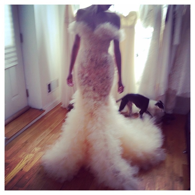 Holy conoly what a magical fitting this early morning✨✨✨ with my beloved IG Doug in the background 🐶❤️ #tatyanamerenyuk #tatyanamerenyukbridal #fashion #style #stylish #cute #tatyanamerenyukbridal #hair #beauty #beautiful #instagood #pretty #design #bridaldress #dress #wedding #weddingdress #bohochick #boho #whitedress #weddinginsporation #lace #bohemianwedding #bride #nycdesigner #dog #bridal