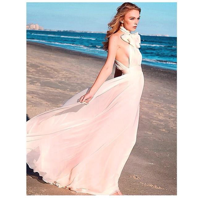 Pretty in pink 💕 beach babe in an new draped silk gown… #tatyanamerenyuk #tatyanamerenyukbridal #bohobride #boho #bohemian #bohochick #bohemianwedding #wedding #weddingdress #weddinginspiration #bride #fashion #dress #whitedress #nycdesigner