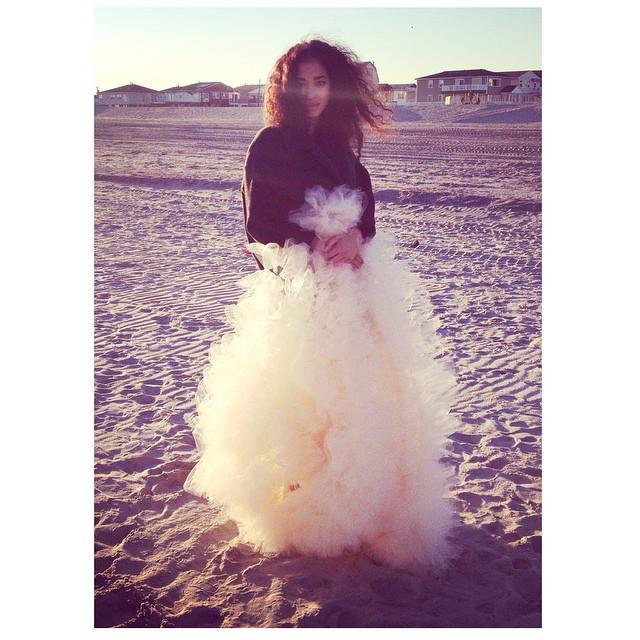 What is she hiding under there? The stunner Dakota 💕 I can't wait to share these photos with you…some behind the scenes… #tatyanamerenyuk #tatyanamerenyukbridal #dress #fashion #model #pretty #beach #boho #bridal #bridaldress #bohobride #bohochick #wedding #weddingdress #weddinginspiration #nycdesigner