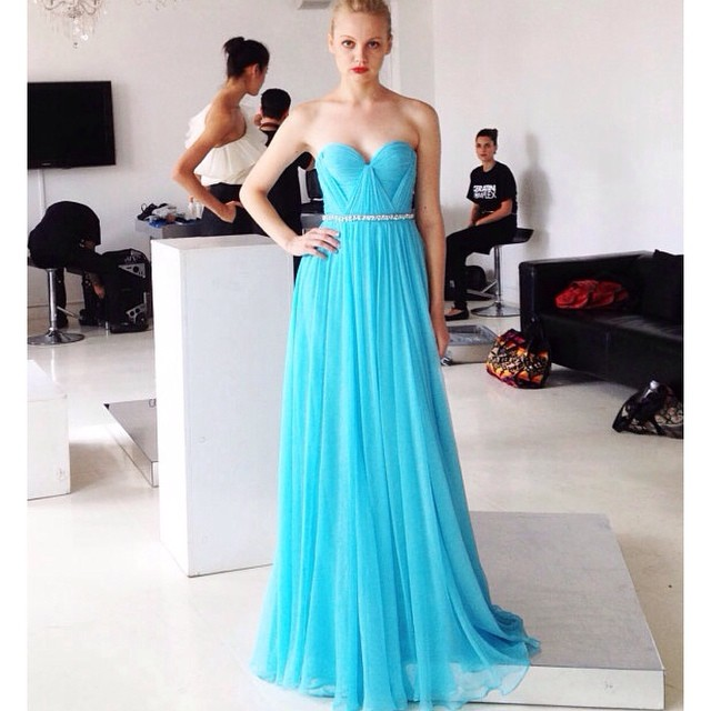 Loving the color! Getting inspired for more gorgeous gowns on the way! Love @ivanka88 you are a doll;) #tatyanamerenyukbridal #dress #fashion #model #pretty #nycdesigner #weddingdress #weddinginspiration #girl #blue #sky #drape