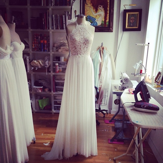 Work has began at this beautiful morning… #dress #wedding #studio #tatyanamerenyuk #bridaldress #studio #nycdesigner #lace #newwork #pretty