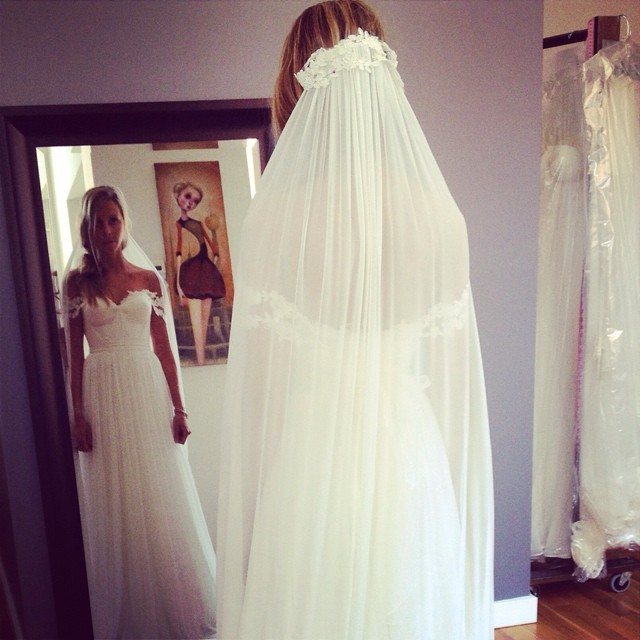 Love the back of this veil…fittings looking good;) #bride #tatyanamerenyukbridal #wedding #weddinginspiration #bohobride #bridaldress #dress #veil #pretty #style #lace #nycdesigner #silk #custom