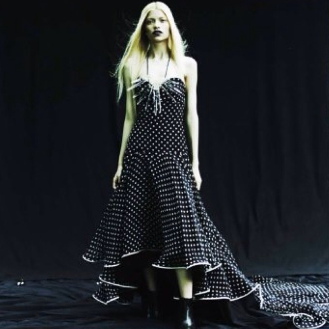 My beloved polka dot dress in editorial….. Love the high low skirt… #tatyanamerenyuk #dress #fashion #model #editorial #girl #pretty #nycdesigner #polkadot