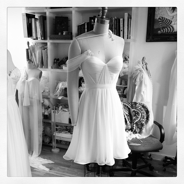 Loving this short version for a sexy French Bride! #weddingdress #weddinginspiration #tatyanamerenyuk #tatyanamerenyukbridal #tatyanamerenyukdesignes #dress #fashion #nycdesigner #draping #custom