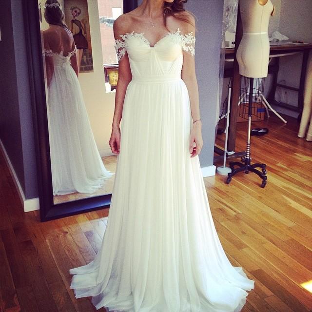 Working on something beautiful! Lace touch and headband… Oohhh so pretty❤️ custom gown for client. #frenchwedding #weddingdress #weddinginspiration #bohobride #boho #bride #wedding #pretty #tatyanamerenyuk #tatyanamerenyukbridal #dress #fashion