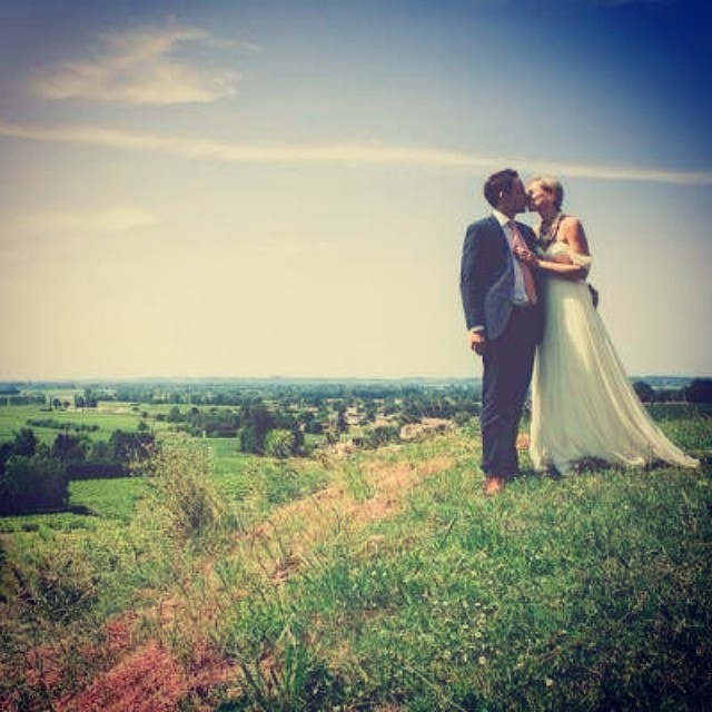 How beautiful… My client Gemma in Ivory Annie gown with sleeve a the French country side with her husband❤️ #wedding #boho #bohobride #bridaldress #bride #tatyanamerenyuk #nycdesigner #dress #weddingdress #pretty #love
