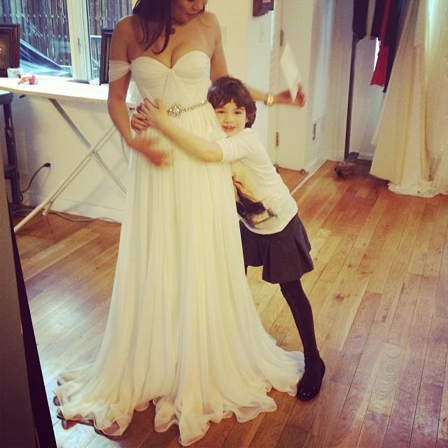 I think she approves, mommy looks Beautiful! #fittings #tatyanamerenyuk #wedding #weddingdress #love #cute #nycdesigner #fashion #chic #bohobride