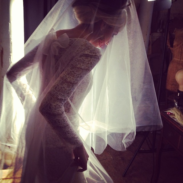 Here comes the bride @fuckingfaustina gorgeous girl! #bride #bridal #dress #lace #nycdesigner #reddollbytm