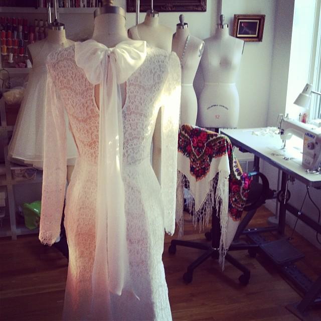 Getting to work on Bridal… #bridal #fashion #reddoll #wedding #weddingdress #nycdesigner #instagood #photooftheday #lace #studio