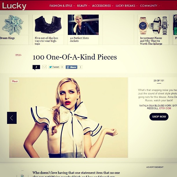 Thank you Luck Magazine! For featuring my Natalia Blouse! Sweet… #redsoll #blouse #tatyanamerenyuk #nycdesigner #lucky #luckymagazine #fashion #style #stylish #cute #photooftheday #hair #beauty #beautiful #instagood #pretty #swag #girl #girls #eyes #design #model #dress #styles #outfit #shopping #glam