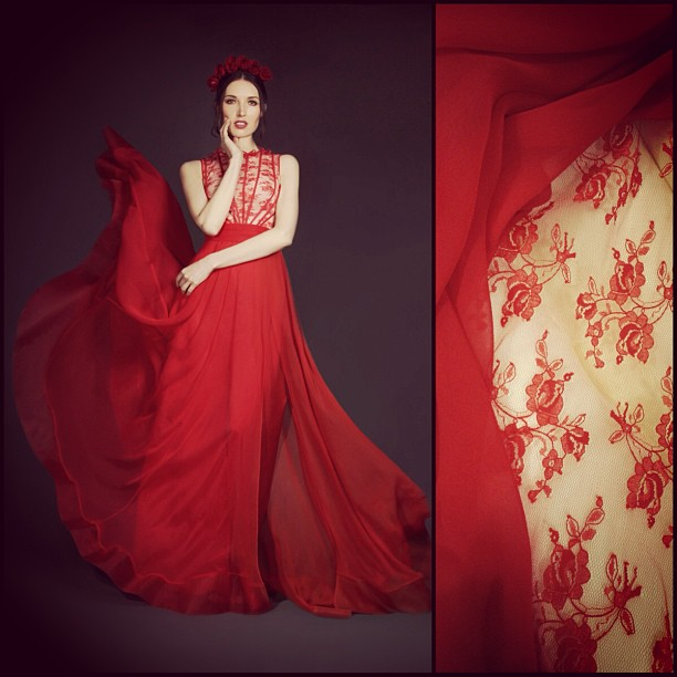 New Fall 2013 collection, Rose silk lace Dress #alldayidreamaboutlace #gowns #red #reddollbytm #fashion #dress #women #instagood #instagram #nycdesigner #tatyanamerenyuk