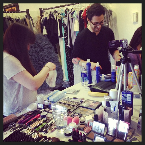 At work, lookbook time! @nicholas_shatarah @makeupbyjennifernam @tatjana_sinkevica Can't wait to see the final result!