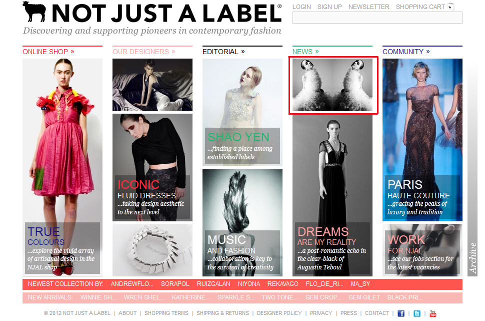 r e d d o l l is on on Front Page! Pretty sweet~ http://www.notjustalabel.com/ Photography by Conor Doherty 2011