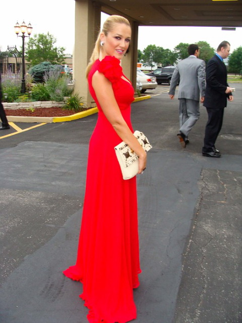 The Gorgeous Helen Berkun in my Rose Gown looking like a movie star!