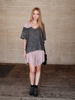 The gorgeous model Marta in a  r e d d o l l  dress during NYFW, with her top for personalization ♥ it~