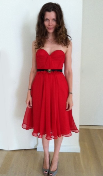 Gorgeous client in my Tea Length Scarlet Dress!