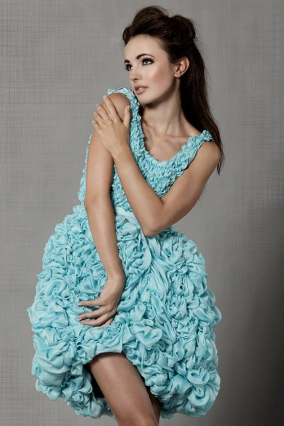 my pretty hand gathered silk dress~ with Beautiful model Natalia~one of my favorite designs.