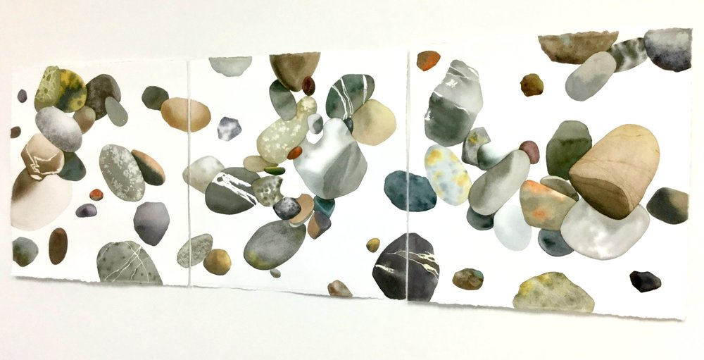Floating Rocks on White - Triptych
