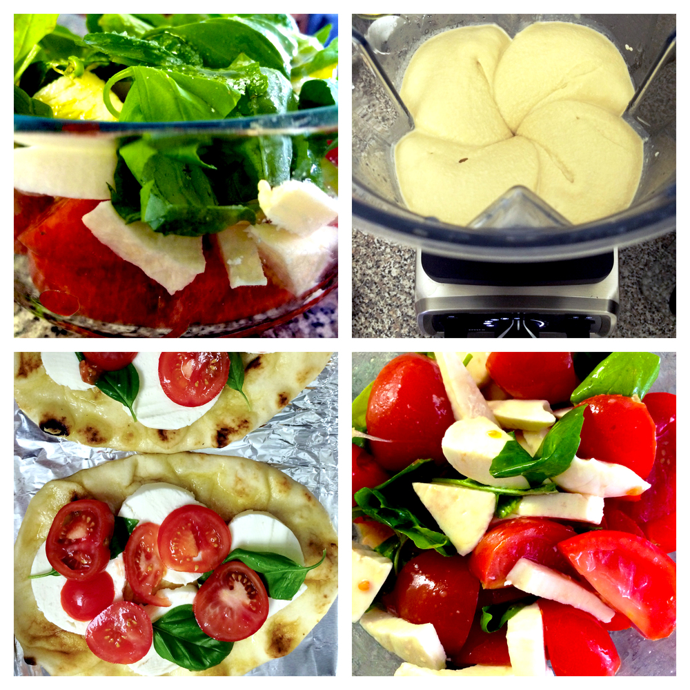 caprese salad / pizza on naan & homemade hummus in the Vitamix