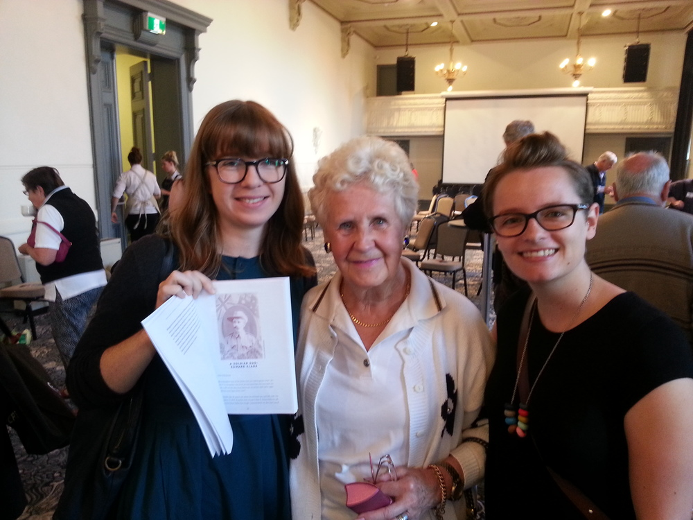 Authors Fiona Poulton (L) and Lucy Bracey (R) with local resident Isabel Harkensee (centre) who was one of many Boroondara residents who shared their WWI stories with  Way Back When  for this project.