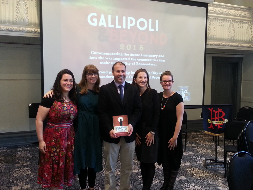 Authors Alicia Cerreto, Fiona Poulton, Katherine Sheedy and Lucy Bracey with  Hon Josh Frydenberg MP.