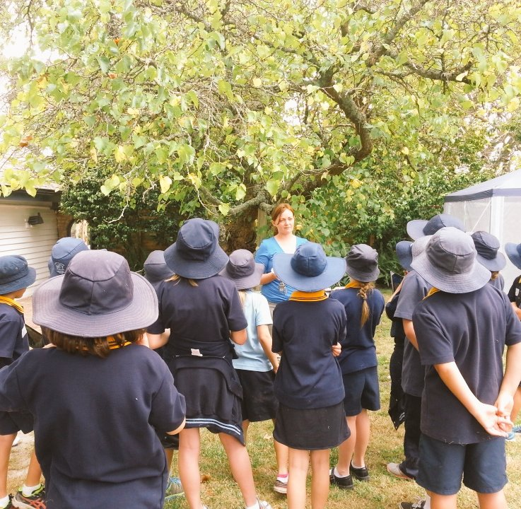 Students learn about the mulberry tree at Mulberry Hill