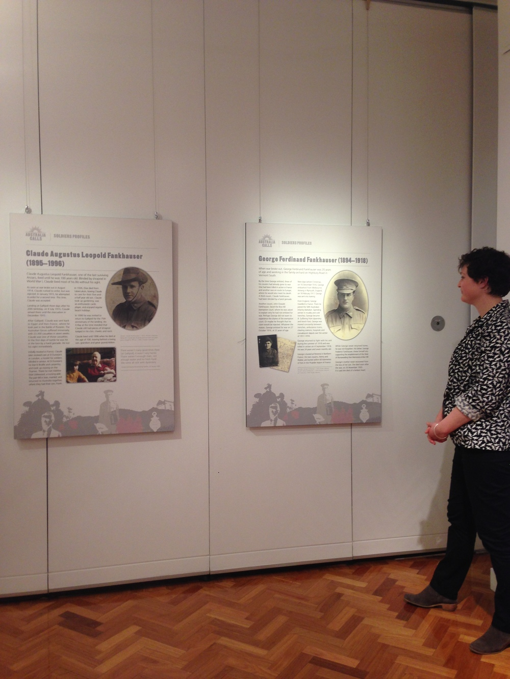 Way Back When  historian Nicole Curby with panels telling the stories of local servicemen.