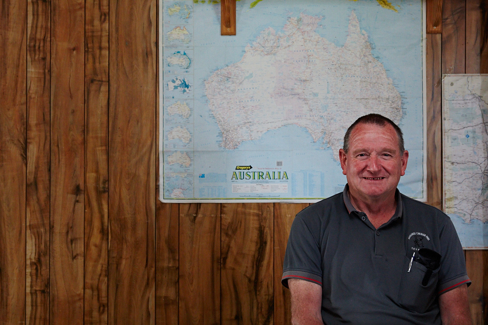 Highlands Caravan Park manager Ray Jones in his living room on-site.