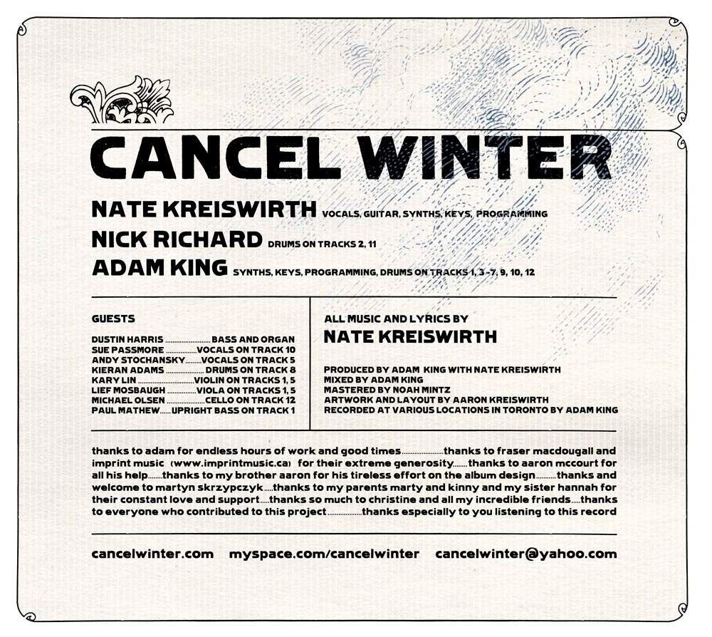 CANCEL WINTER CD INSIDE COVER     2007